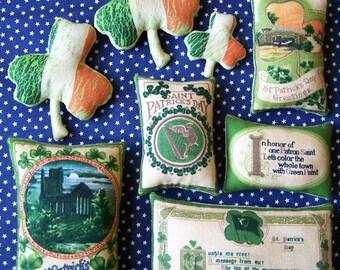 Set of 8 Grungy Primitive St. Patrick Day Irish Ornie Bowl Fillers Tucks Shelf Sitters Celtic Ireland Gift Home Decor Luck