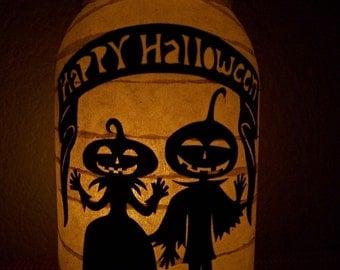 Primitive Halloween Pumpkin Couple Lantern