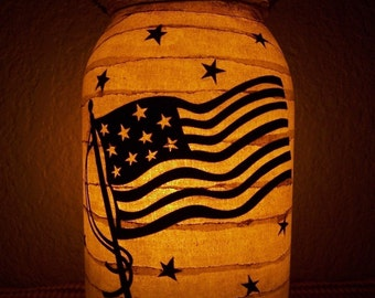 Primitive Patriotic American Flag Fourth of July Lantern