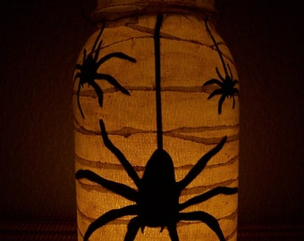 Grungy Primitive Halloween Spider Lantern Luminary Light Candle Holder Porch Mantel Decoration Home Decor Gift Fall Autumn Home