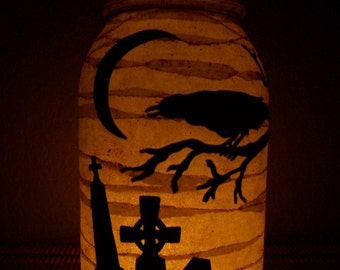 Grungy Primitive Halloween Cemetary Lantern Light Crow Luminary Porch Mantel Camping Gift Early Farmhouse Old Look