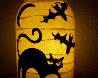 Grungy Primitive Halloween Cat Lantern Candle Holder Light Luminary Porch Mantel Centerpiece Wedding Decor Gift
