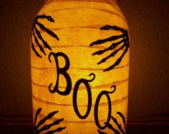 Grungy Primitive Halloween 'Boo' Lantern Luminary Candle Holder Skeleton Monster Horror Autumn Fall Gift Mantel Porch Light