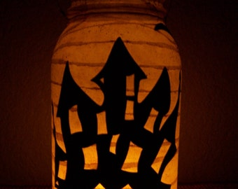 Grungy Primitive Halloween Haunted House Lantern Light Luminary Table Decor Decoration Mantel Porch Gift