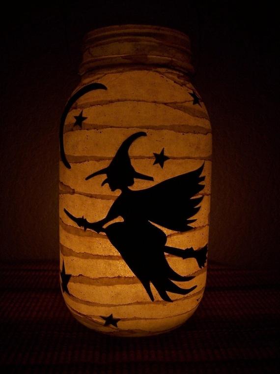 Primitive Halloween Witch Lantern Light Luminary Porch Mantel Fall Autumn Gift Home Decor Decoration Centerpiece
