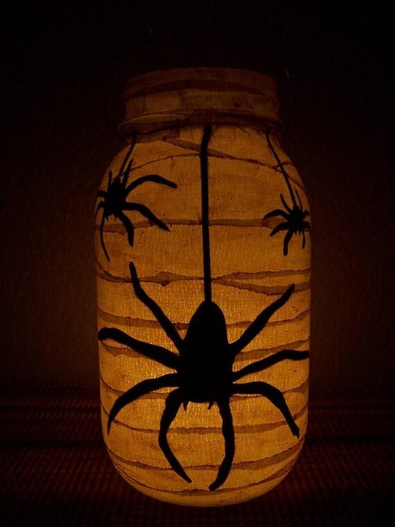Grungy Primitive Halloween Spider Lantern Luminary Light Candle Holder Porch Mantel Decoration Home Decor Gift Fall Autumn Home
