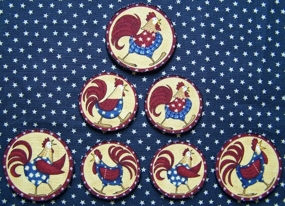 Set of 7 Primitive Rooster Magnets Fridge Office Dorm Early Old Farmhouse Look Americana Made In USA Country Living Patriotic