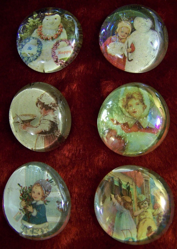 Set of 6 Upcycled Christmas Glass Marble Magnets