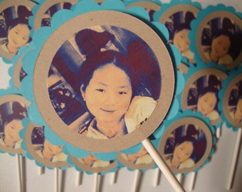 Custom photo cupcake toppers and tags