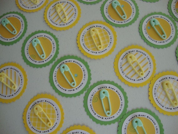 Diaper pin baby shower tags