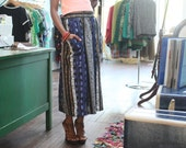"""1980s """"Linen"""" Ethnic Print Skirt"""