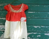 Upcycled  eco red polka dot antique lace tattered silk women pixie mini skirt dress tunic