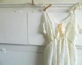Ivory wedding dress vintage slip romantic shabby chic size small medium