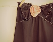 Black slip strapless dress, romantic, bohemian, shabby chic, southern fried, size small medium