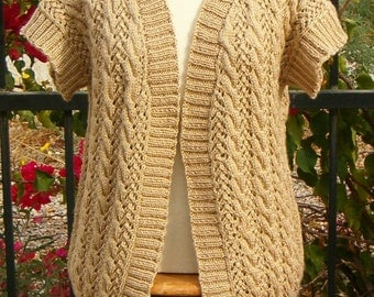 Vest Sweater Outerwear Hand Knit Cable & Lace Hand Knit in Camel