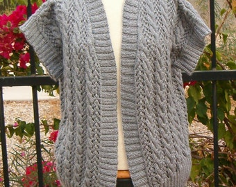 Vest Sweater Hand Knit Cabled Lace In Grey
