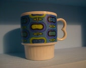 Vintage 1960s Teal and Lime Mod Flower Print Cup- Made in Japan