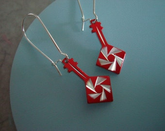 Rock n Roll! Electroplate Guitar Charm Earring Set with Starburst Design- in Red, Royal or Chocolate
