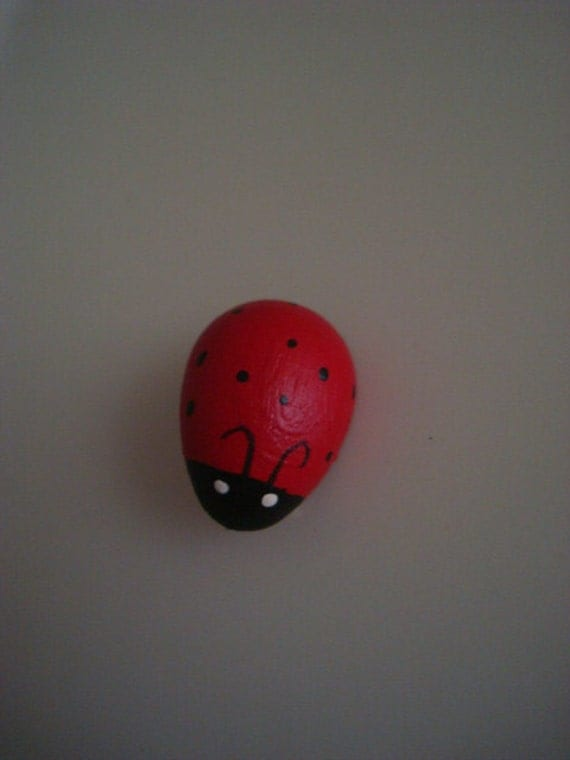 Vintage 1980s Petite Ladybug Pin in Red and Black Painted Wood
