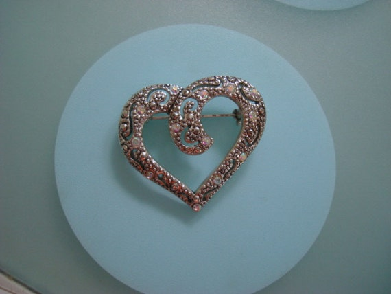 Vintage Silver and Rhinestone Swirled Heart Brooch