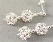 Crystal Bridal Earrings - Made with Clear Rhinestone Beads - Silver