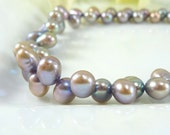 Freshwater Pearl Necklace - Blue Gray Pearls with Pink Overtones, Silver