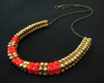 Neon Lights Woven Beaded Necklace - coral/gold