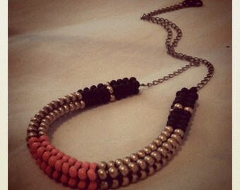 Banded Woven Beadwork and Chain Collar Necklace - Black/Coral/Gold