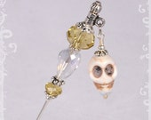 "Stone Skull and Yellow Crystal Dangle 3"" Stick Pin - Hat Pin - Scarf Pin KC0146"