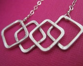 sterling silver four square necklace, diamond, hammered, simple, modern, classic, geometric, everyday