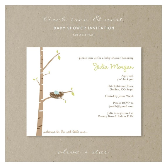 birch tree & nest baby shower invitation set  :  RESERVED LISTING deborah
