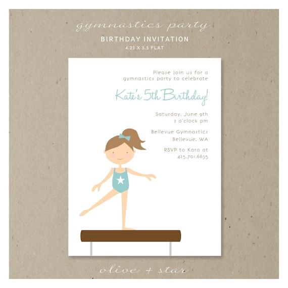 Gymnastics Party : Birthday Invitation Set