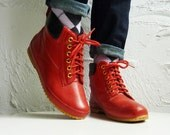Vintage red lace up rain boots - 7