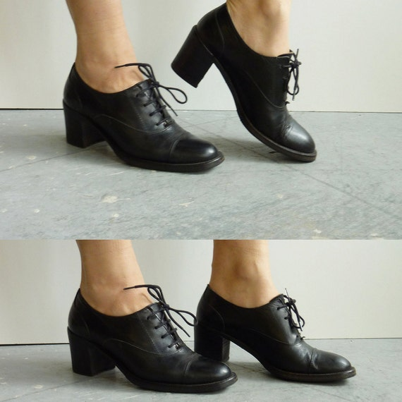 ON HOLD SALE Black leather oxford chunky heels size by CaesarPony