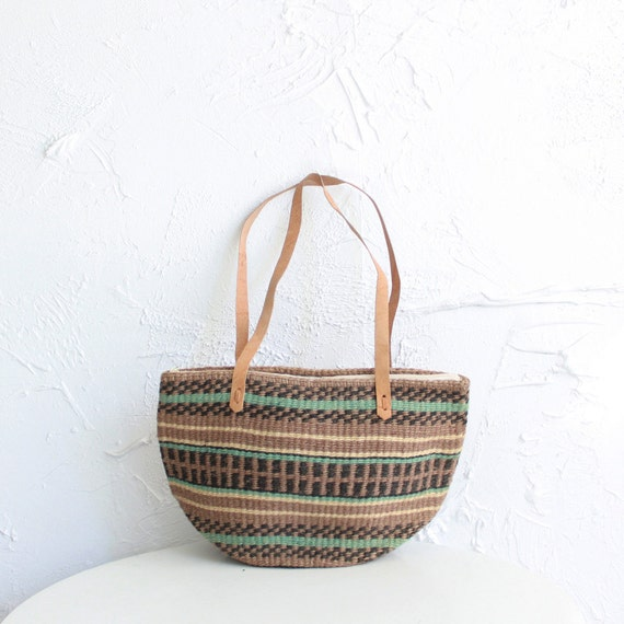 Vintage sisal and leather bucket bag or tote