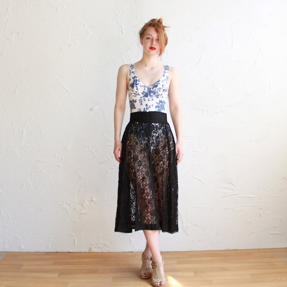 Vintage black skirt - sheer lace - 90s - size small