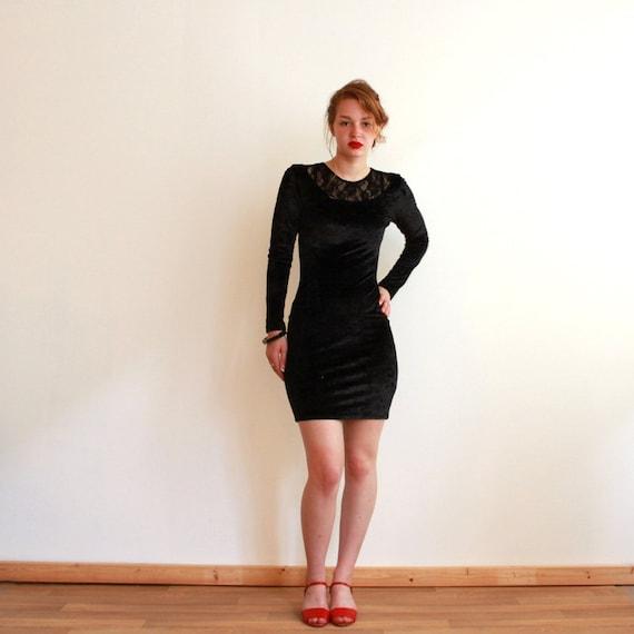 90s crushed velvet dress - black - lace - grunge - small