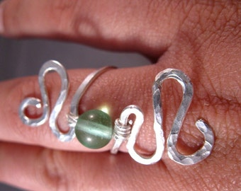 Sterling Silver and Fluorite Wrap Ring
