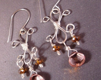 Pink Topaz Fleur-de-lis Earrings