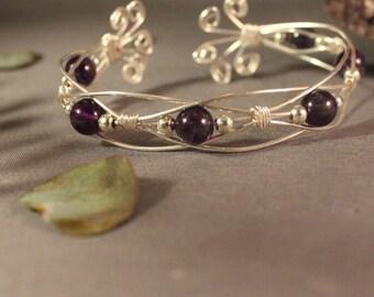 Sterling Silver and Amethyst Overlap Bracelet