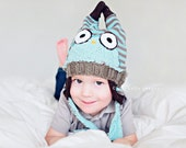 6-12 Months. HOOTHAT in Baby Blue and Brown Stripes. Custom, Upcycled Owl Hat with Earflaps.