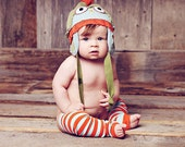 """Child size 3T to 10 Years. HOOTHAT """"Retro One"""" in Orange, Green and Baby Blue. Custom, Upcycled Owl Hat with Earflaps."""