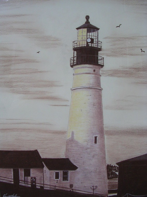 Lighthouse Sepia Original Pastel Drawing