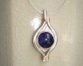 Handmade Jewelry Silver and 14K Gold Filled Necklace with Sodalite Gemstone