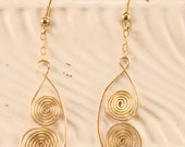 Handmade Jewelry Spiral Earrings Brass and 14K Gold Filled Earwire