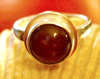 Ring, Red ring, red stone ring, round stone ring, Handmade Jewelry, red and Silver ring, cabochon Ring, sterling silver ring