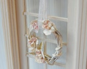 Dollhouse Miniature Shabby Chic Distressed White Pastel Rose Wreath
