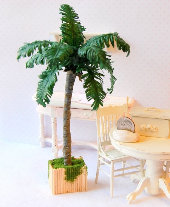 Dollhouse Realistic Miniature Potted Royal Palm Tree