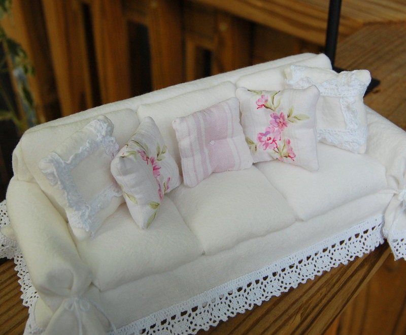 Dollhouse Shabby Romantic Chic White Crinkle Slipcover Sofa