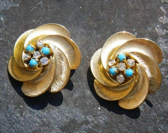 Rhinestone and turquoise 1950s earrings - vintage Crosse